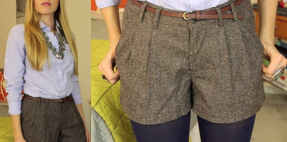 tweed shorts in winter