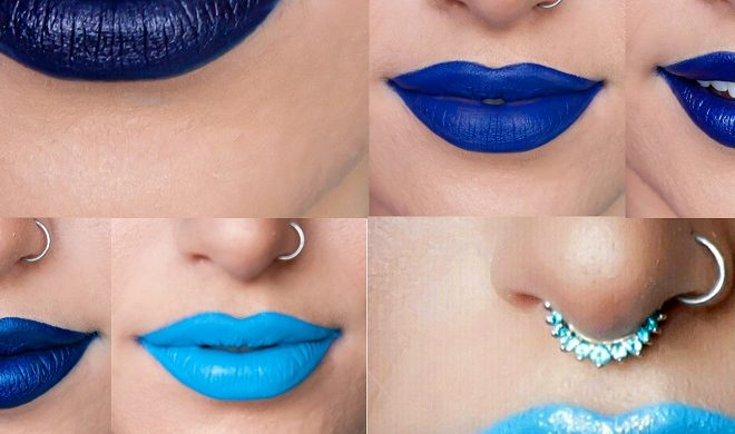 wearing blue lipstick